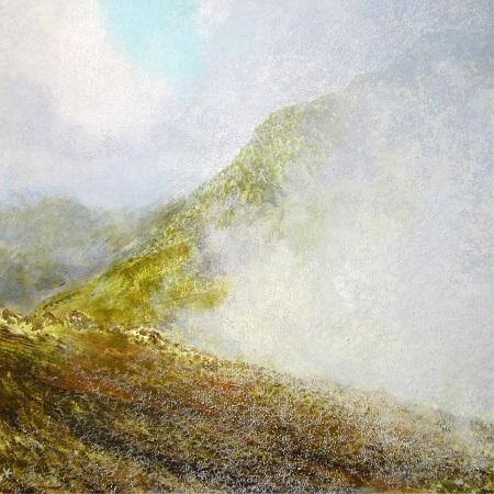 328 'Approaching Stob Dubh, Glen Coe', Acrylic & Pastel, 2014, 80 x 80 cm