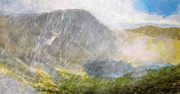 338 'Passing shower, Lochnagar', Acrylic & Pastel, 2015, 80 x 43 cm