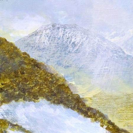 360 From Ghlas Bheinn, Rannoch Moor, winter', Acrylic & Pastel, 2015, 30 x 30 cm