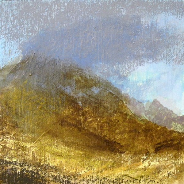 369 'Cloud breaking from Cir Mhor, Glen Rosa, Isle of Arran', Acrylic & Pastel, 2016, 30 x 30 cm