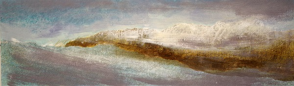 382 'Towards Ben Lomond, winter', Acrylic & Pastel, 2017, 76 x 23 cm