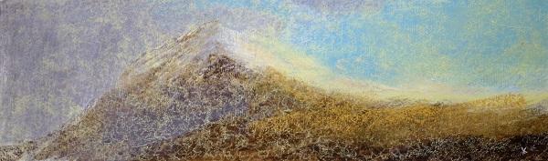 384 'Goat Fell, early snow', Acrylic & Pastel, 2017, 76 x 23cm