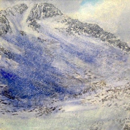 'Snow shower, below the east ridge of Ben Lui', Acrylic & Pastel, 2012, 80 x 80 cm