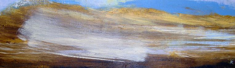 'From Ghlas Beinne, Rannoch Moor- frozen lochs' Acrylic-pastel-2010-76-x-23-cm
