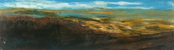 38 'Overlooking Strath Earn, October', Acrylic & Pastel, 76 x 23 cm