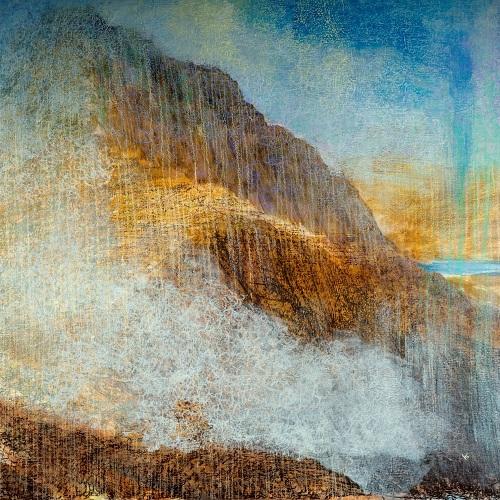 44 'Breaking mists, the Pap of Glen Coe', Acrylic & Pastel, 80 x 80 cm