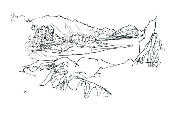 'Near Achmelvich, Assynt', Pen, 18 x 14 cm