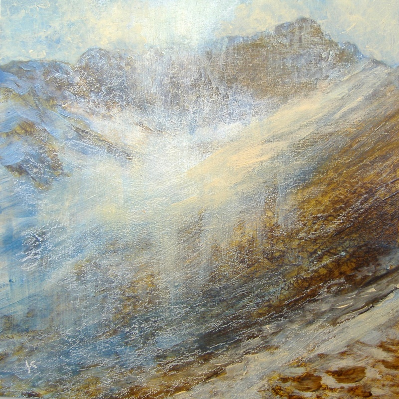 on-the-east-ridge-of-ben-lui-spring-acrylic-pastel-2011-30-x-30-cm