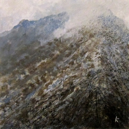 'Approaching Am Bodach, the Mamores', Acrylic & Pastel, 2014, 30 x 30 cm.jpg
