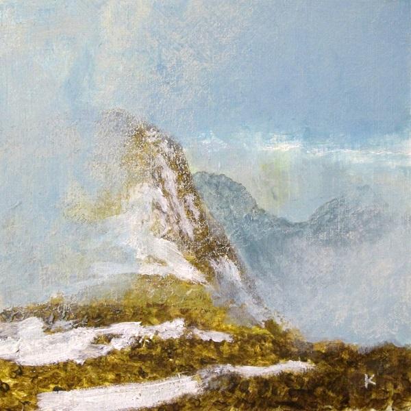 343 'Above Glen Coe, spring', Acrylic & Pastel, 2015 30 x  30 cm