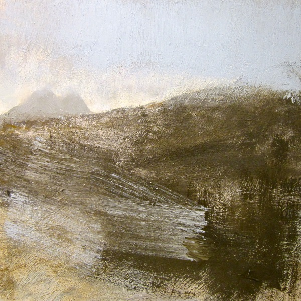 From the SE slopes of Canisp, a wet and misty day', Oil  on canvas, Work in progress