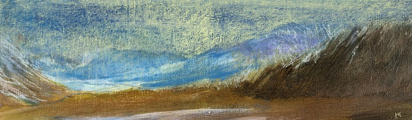 36 'Above Loch Turret, winter', Acrylic & Pastel, 76 x 23 cm