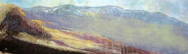 278 'A hazy spring day, Culter Fell', Acrylic & Pastel, 2013, 76 x 23 cm