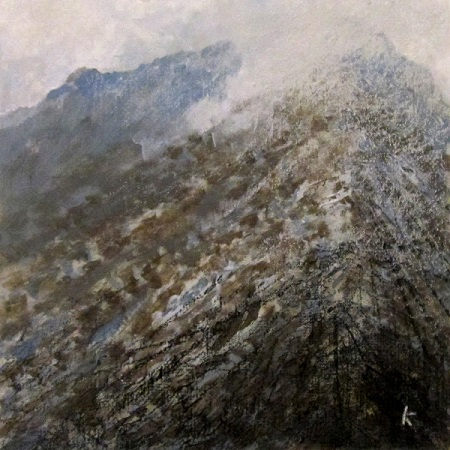 315 'Approaching Am Bodach, the Mamores', Acrylic & Pastel, 2014, 30 x 30 cm