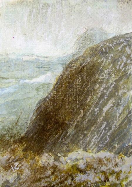 346 'On Beinn Damh, Torridon', Acrylic & Pastel, 2015, 148 x 210 mm