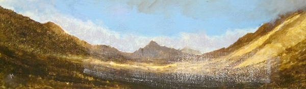 370 'Glen Rosa, Isle of Arran. An April afternoon', Acrylic & Pastel, 2016, 76 x 23 cm