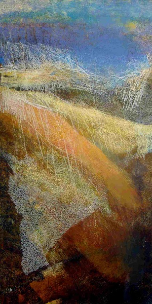 70 'Late December afternoon, above Wanlockhead', Acrylic & Pastel, 2007, 102 x 200 cm