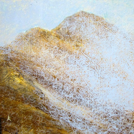 253 'Approaching Sgorr Dhearg, above Ballachulish', Acrylic & Pastel, 2012, 30 x 30 cm