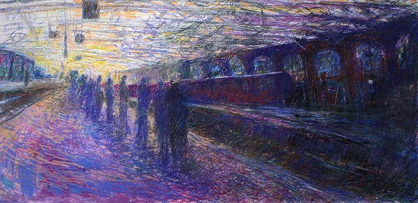 'Central Station, Glasgow', Pastel, 2003