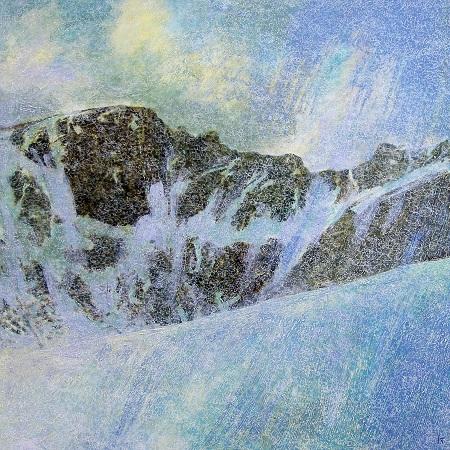 107 'Coire an t'Sneachda, the Cairngorms', Oil, Acrylic & Pastel, 2009, 88 x 88 cm