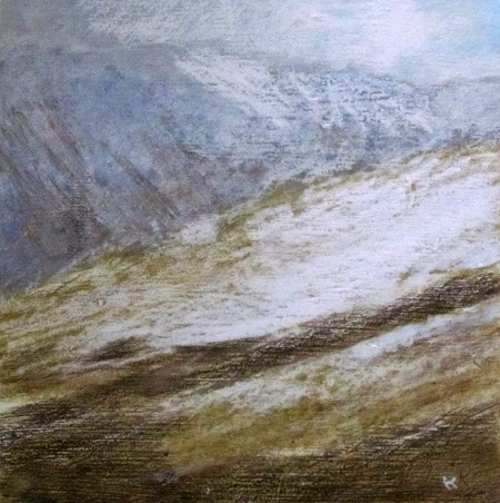 16 'Fresh snow, January 1st 2013, the Ochils', Acrylic & pastel, 2013, 30 x 30 cm