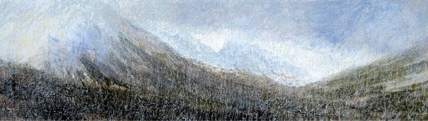 277 'The Saddle from Glen Rosa, Isle of Arran, March', Acrylic & Pastel, 2013, 76 x 23 cm