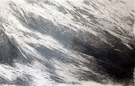 3 'Below Goat Fell, winter', Graphite pencil on paper, 2013, 125 x  80 cm