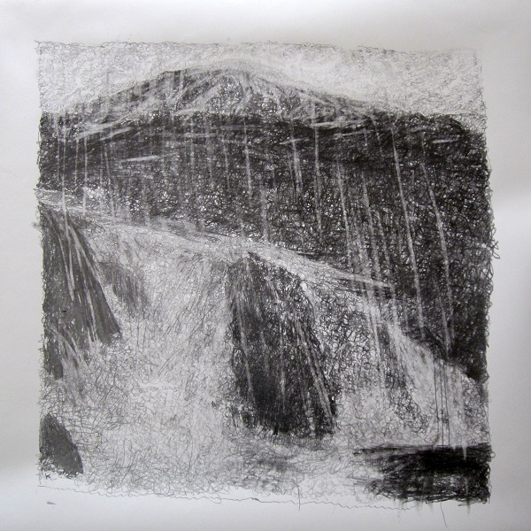 304 ' Snow, rock and water, Harris, May', Graphite on paper, 2013, 70 x 70 cm