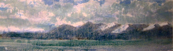 316  'Towards the Isle of Arran, winter', Acrylic & Pastel, 2014, 76 x 23 cm