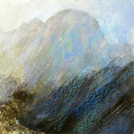 320 'Below Suilvern, a dreich afternoon', Acrylic & Pastel,. 2014, 30 x 30 cm jpg