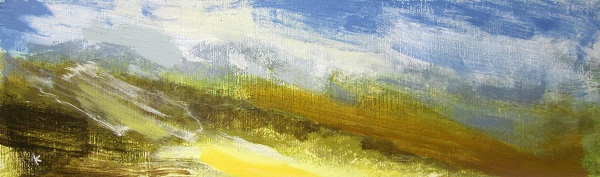 4 'Towards the Mamores, a showery summers day', Acrylic & Pastel, 2014, 76 x 23 cm