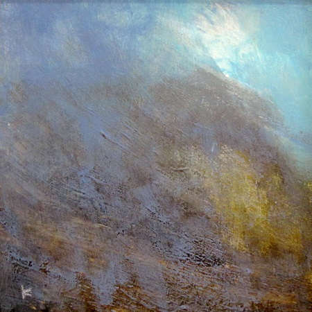 'Evening light. On Cul Mor, Assynt', Acrylic & Pastel, 2014, 30 x 30 cm