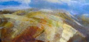 83 'Upland scene', Acrylic & Pastel, 2008, 200 x 100 cm