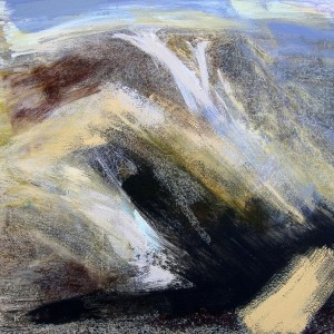 'NW from Conival, May', Acrylic & Pastel, 2009, 80 x 80 cm