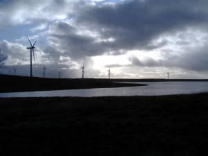 Landscape photo of Eaglesham Moor wind farm.