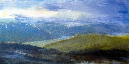 'Late March, above Loch Rannoch', Acrylic & Pastel, 2009, 60 x 30cm