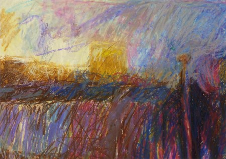 1.8  'Riverside, evening', pastel,