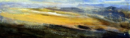 'Ben Ledi from Benvane, April afternoon', Acrylic & Pastel, 2009, 76 x 23 cm Ref:106