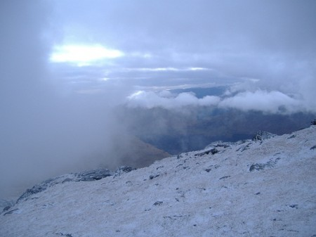 Near the summit of Ben Ime, a break in the cloud
