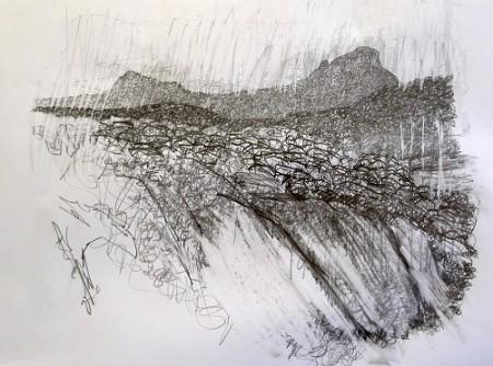 118, 'Assynt sky-line', Pencil, 46cm (w) x 36cm (h)