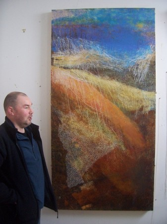 'The artist with 'Late December afternoon, above Wanlockhead'