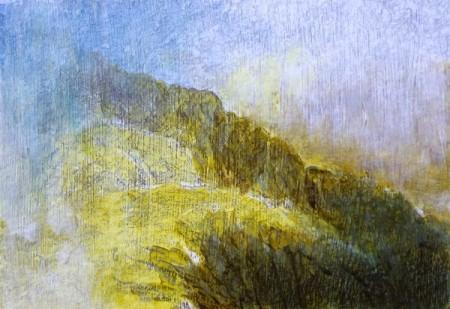 216 'Breaking cloud, near the Pap of Glencoe', Acrylic & Pastel, 2012