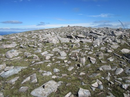The rock strewn summit of Meall Garbh