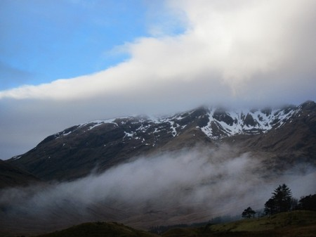 Cloud breaking around the base of Ben Lui