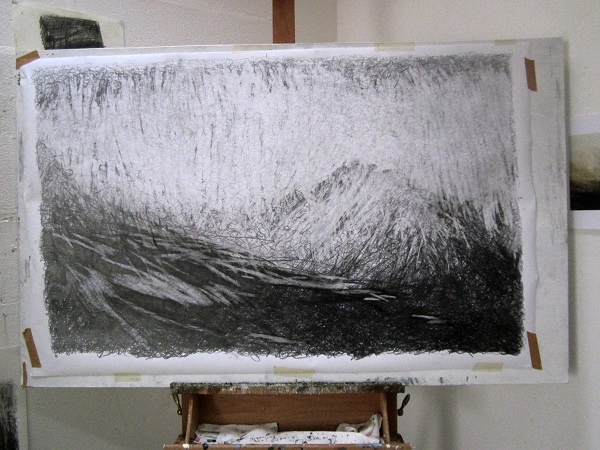 Latest Glen Rosa drawing, 'Towards Cir Mhor, a winter afternoon'