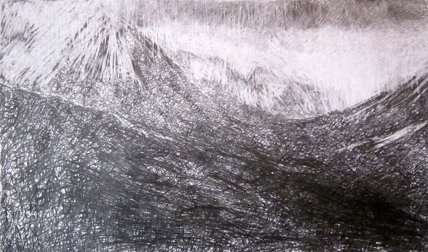 'The Saddle from glen Rosa, Isle of Arran', Graphite on paper, 125 x 75 cm