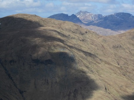The Cobbler, Beinn Ime and Beinn Narnain from the summit of Beinn Eich