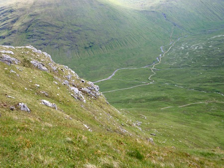 Into Glen Lochy from the top of the steep!