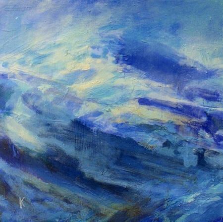 31 'Mists clearing  Beinn Dubhcharig,winterr', Acrylic, 2005, 30 x 30 cm, sold