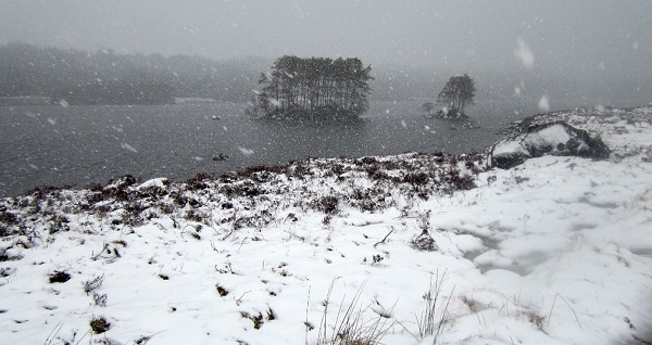 Heavy snow shower, Loch Ossian